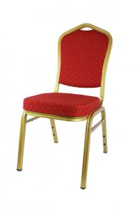 red and gold stacking chair